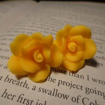 Yellow Rose Stud Earrings