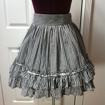M black white gingham check lolita rockabilly full skirt daisy trim