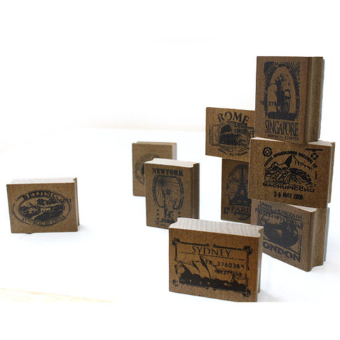 Fallindesign Travel Passport Wooden Rubber Stamp And