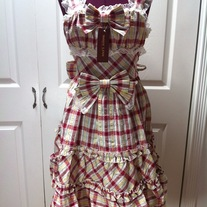 M-L red yellow off-white tartan sleeveless bow lace rockabilly dress