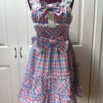 M-L pink sax blue off-white tartan sleeveless bow lace rockabilly dress