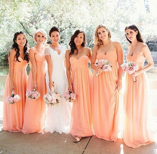 Long Bridesmaid Dresses Pink Simple Chiffon Dress
