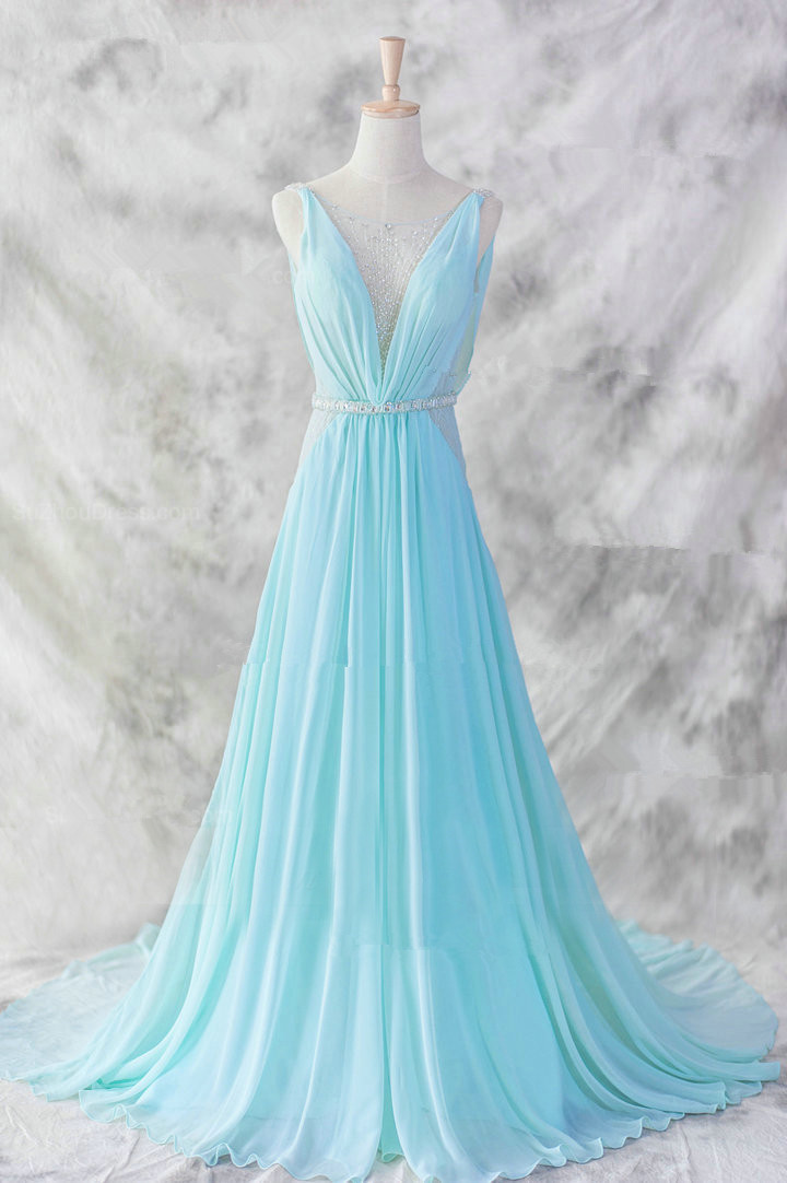 Pretty Chiffon Prom Dresses,Floor Length Prom Dresses,V-Neckline ...