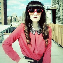 Red Blouse with Sequin Collar