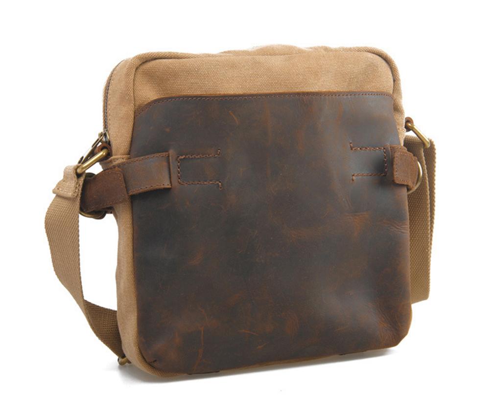 bf95c7717b10 Karitco Unisex Handmade Genuine Leather Canvas Messenger Bag Shoulder Bag  Cross Body Bag 2 Colors