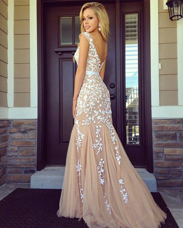 lace prom dress, long prom dress, prom dress 2015, champagne prom ...