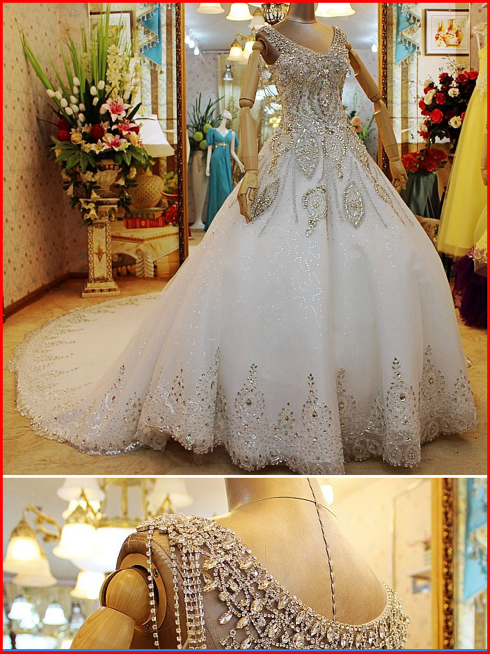 YZ New Arrival Ball Gown V-neck Short Sleeve Luxury Crystal Wedding ...