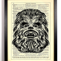 Image of Star Wars Chewbacca, Vintage Dictionary Print, 8 x 10