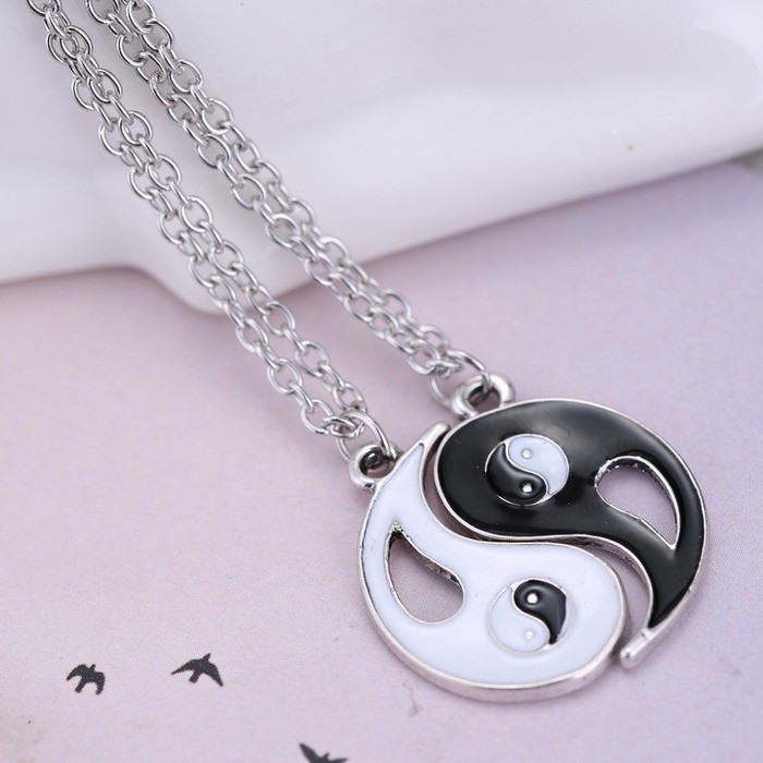 Friendship Pendant Necklace 2pcs silver tone black white yin yang best friends pendant 2pcs silver tone black white yin yang best friends pendant friendship necklace chain 90s goth grunge audiocablefo