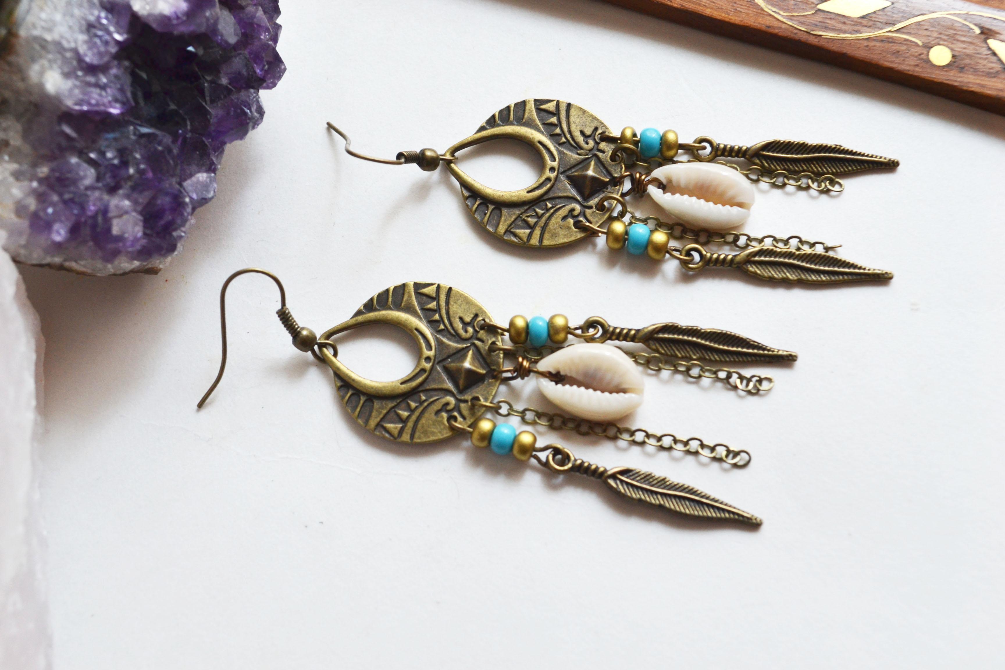 Bohemian Shell Earrings, Long Boho Earrings, Talisman Earrings ...