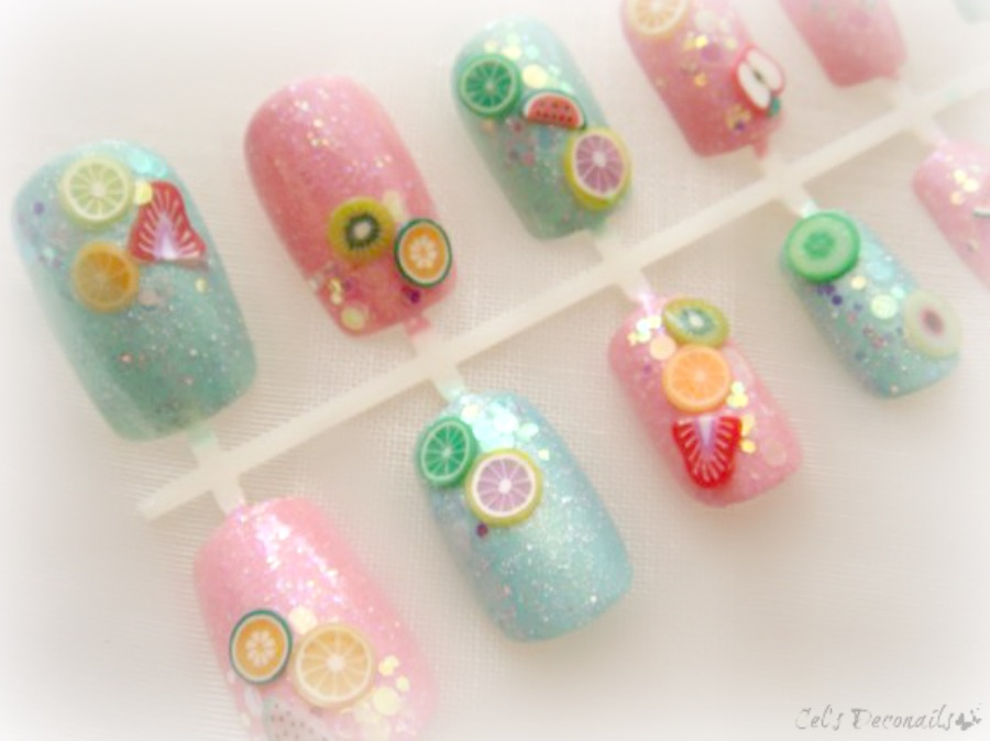 Glitter fruit kawaii 3d nail art set, deco nails · celdeconail ...