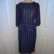 Vintage Striped Peplum Dress Size M/L