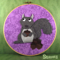 Felt Wall Art Hoop – Squirrel and Acorns