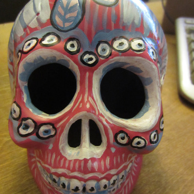 Pink day of the dead skull