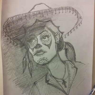 Day of the dead girl -drawing