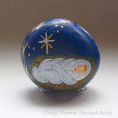 Baby jesus painted rock- free usa shipping