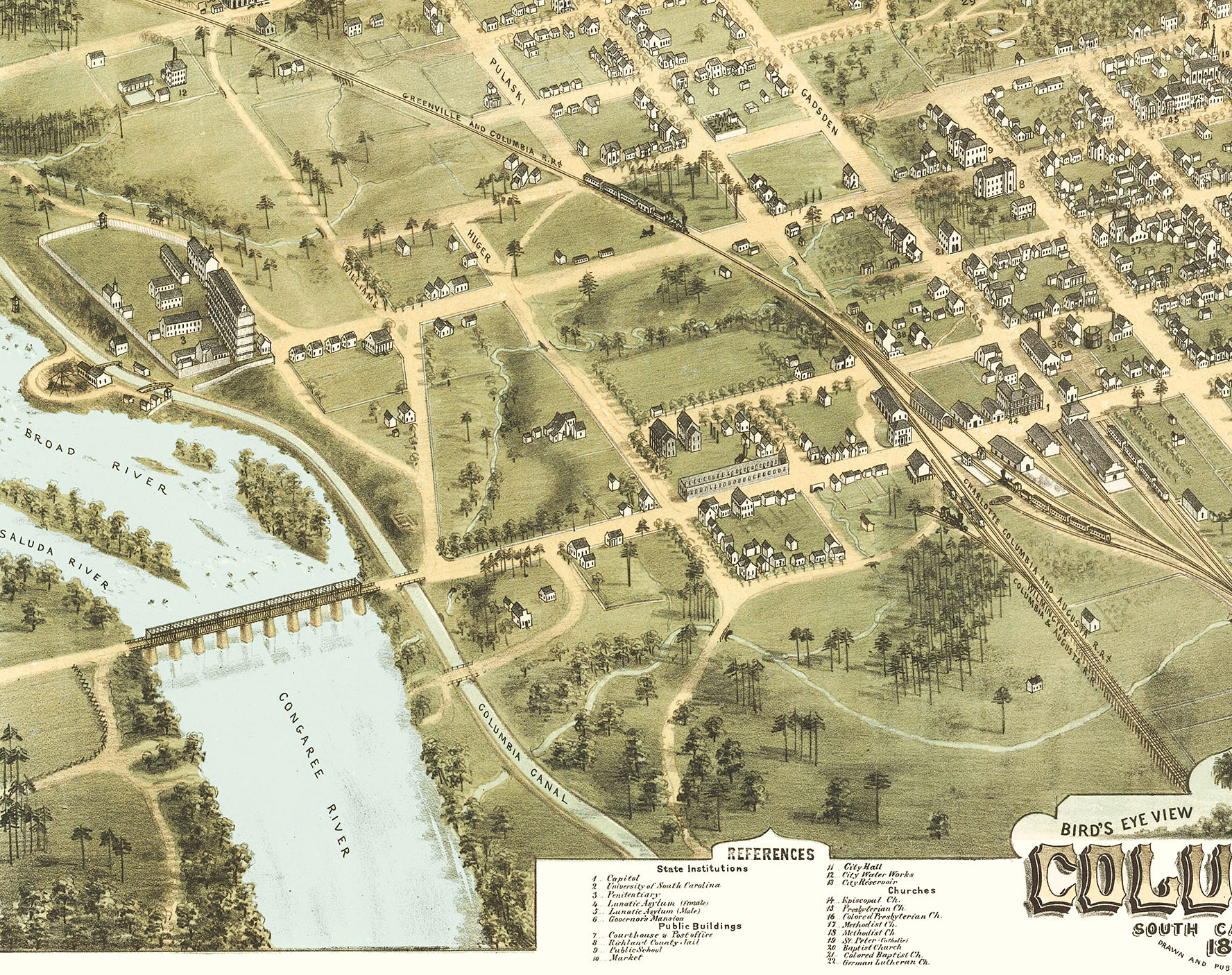 Columbia, South Carolina in 1872 - Bird\'s Eye View, Map, Aerial ...
