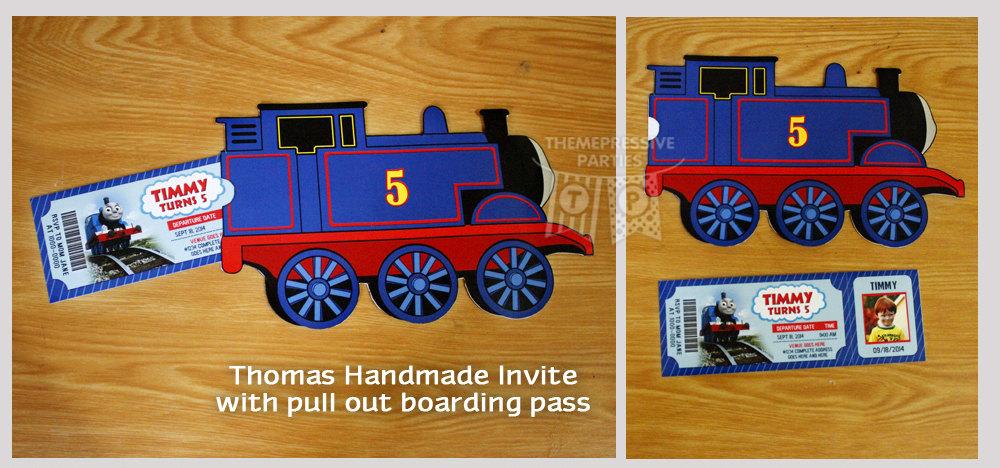 thomas the train handmade printed invitations  set birthday, Party invitations