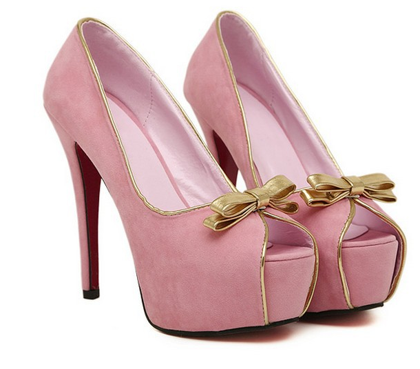 Baby Pink Bow Front High Heels · Enix Fashion · Online Store ...