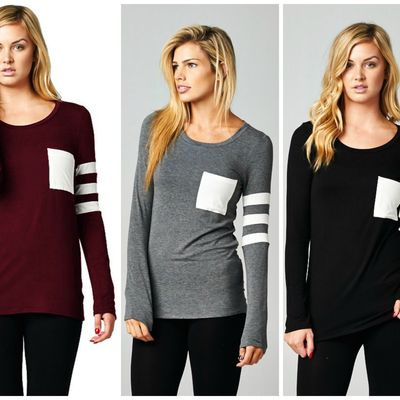 Armband striped long sleeve top (3 colors)