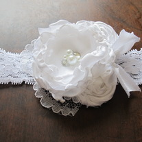 Tiny and White Satin headband
