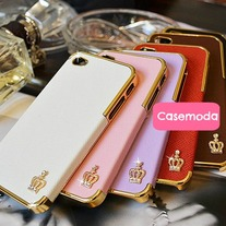 New Chic Bling Sparkle Gold Crown PU Leather iPhone Case