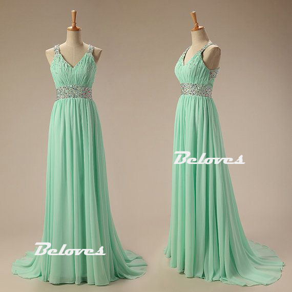 Mint Green Chiffon Beaded Formal Gown With Open Back · Beloves ...