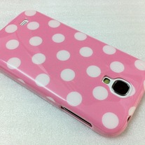 New Chic Glam White Polka Dot Pink Samsung Galaxy S4 i9500 Case Cover