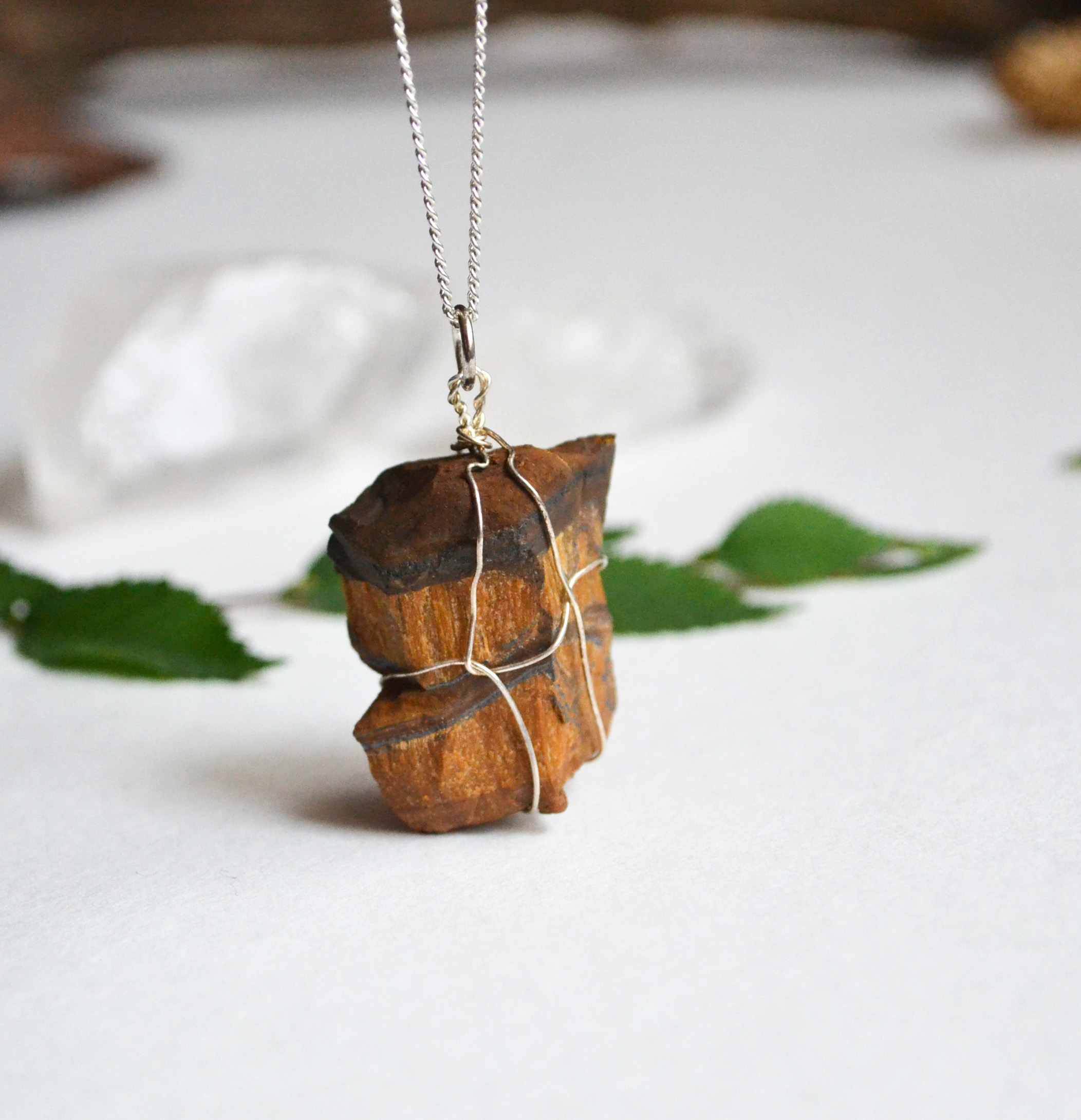 Tigers Eye Iron Necklace, Raw Stone, Unisex, Mens Necklace, Earth ...