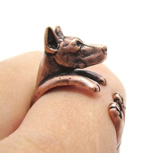 3D Doberman Puppy Dog Animal Wrap Ring in Copper - Sizes 5 to 9