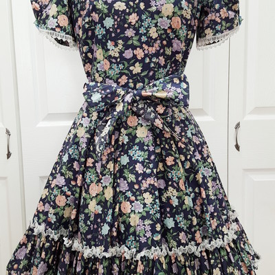 S navy blue pastel pink blue floral lace swing dress short puff sleeve knee-length rockabilly mori girl