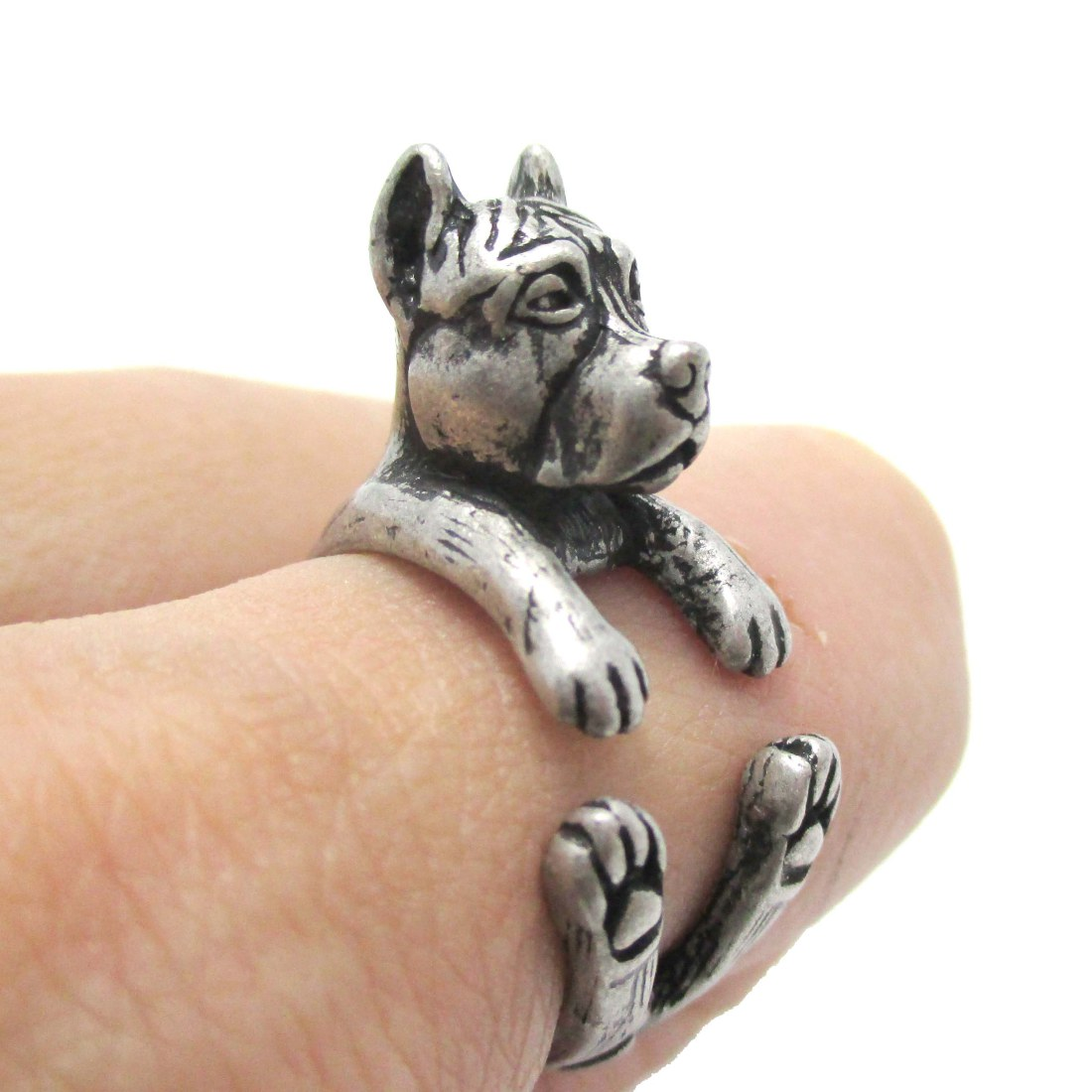 Sterling Silver Pit Bull Ring
