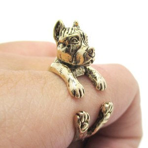3D Pit Bull Puppy Dog Animal Wrap Ring in Shiny Gold - Sizes 5 to 9
