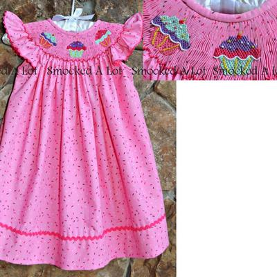 Cupcake smocked dress- sprinkle fabric