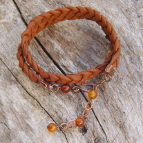 Brown Braided Leather Wrap Bracelet with Golden Horn Beads