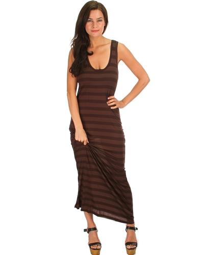c845e8ff9e713 Light Dark Brown Stripes Sleeveless Maxi Dress · Chic Envy Boutique ...