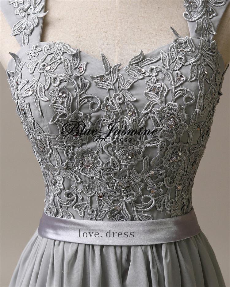 Silver grey chiffon corset long bridesmaids dress wedding for Silver ball gown wedding dresses