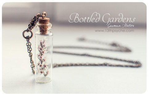 Tiny white flower bottle necklace glass bottle pendant for Gemsprouts tiny plant jewelry