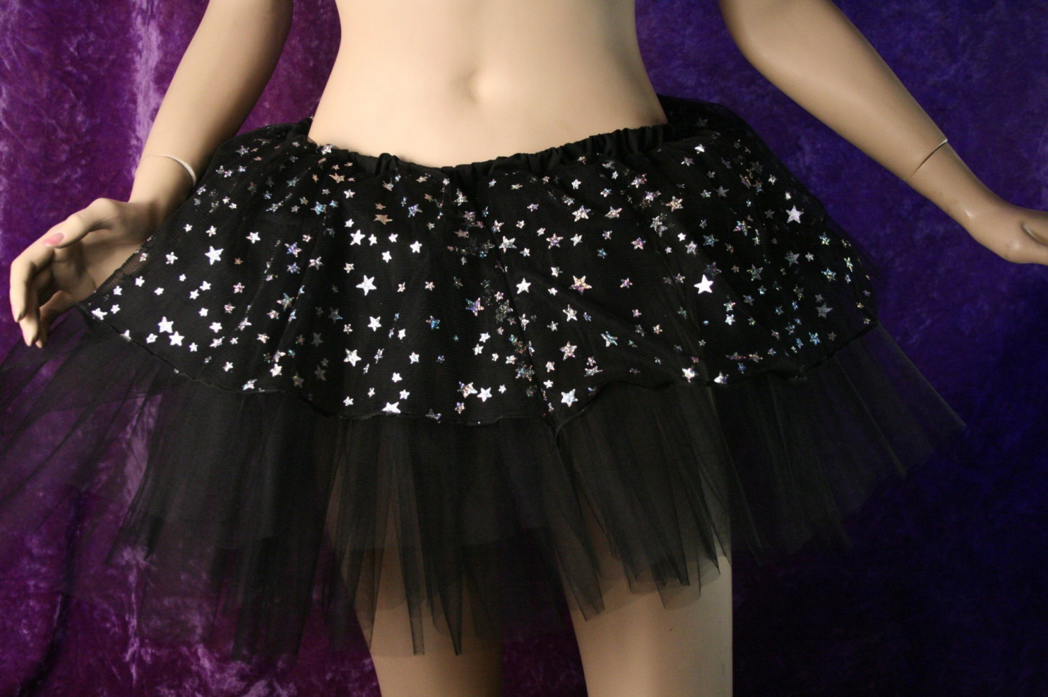 Adult skirt black silver stars roller derby costume new years dance