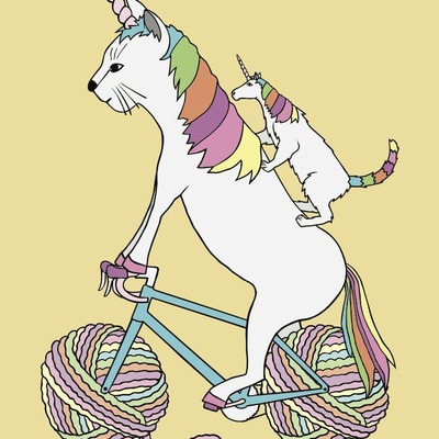 Cat unicorn riding unicorn cat who is riding a bike with rainbow yarn ball wheels 5x7 print