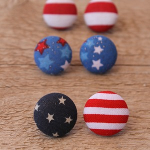 4th of July Button Earrings {set of 3}