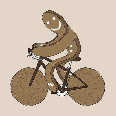 Gingerbread man riding bike with gingersnap cookie wheels 5x5 print