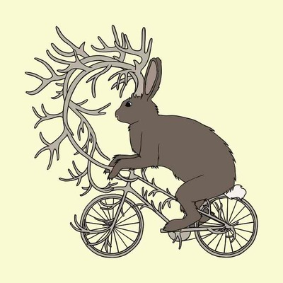 Jackalope riding it's antler bike 5x7 print