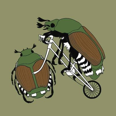 Japanese beetle riding bike with japanese beetle wheel 5x7 print
