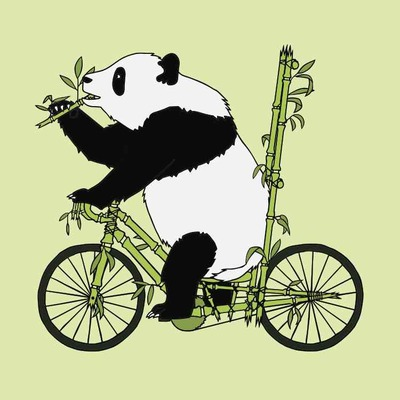 Panda bear riding bamboo bike 5x7 print