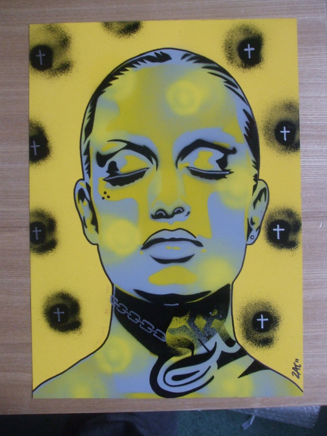 Tattooed woman painting,skin deep series,stencils art,spray paint ...