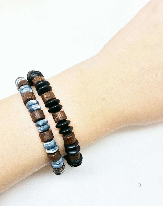 741ecd4843 ... Unisex Mens Wood Bracelet Onyx Healing Energy Yoga Stretch Mala Bracelet  - Thumbnail 2 ...