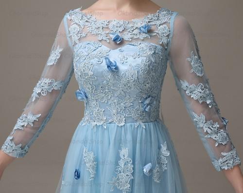 long sleeve prom dress, lace prom dress, short prom dress, unique ...
