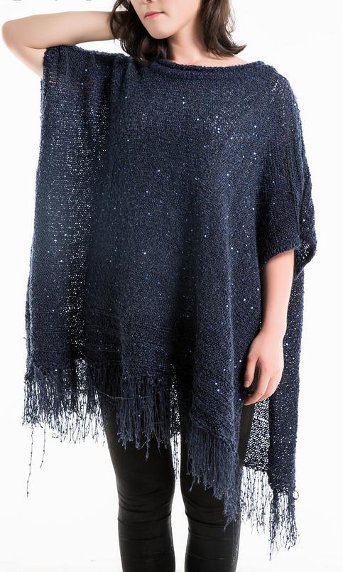 Women S Metallic Sequin Tunics Poncho Fringe Pullover