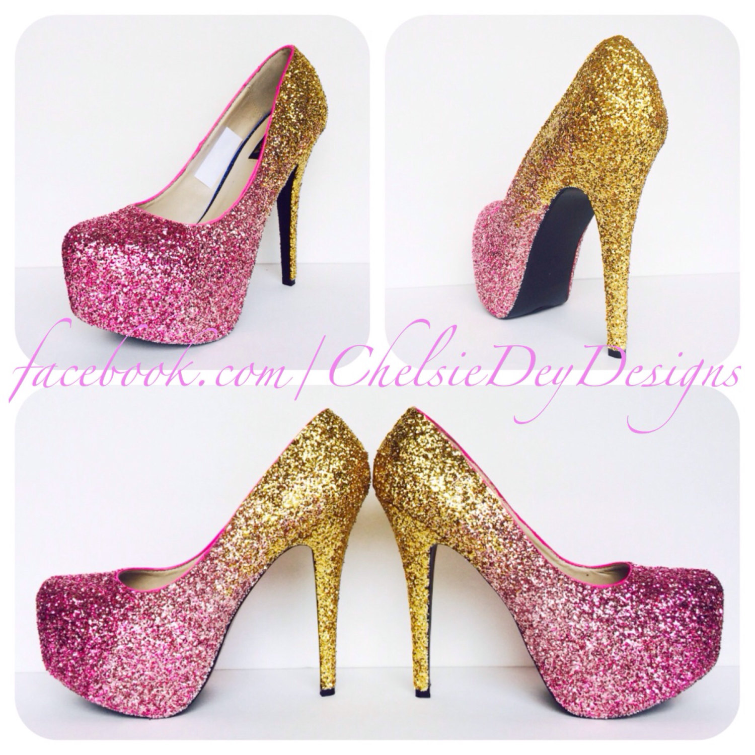 Hot Pink Glitter High Heels, Gold Ombre Platform Pumps, Sparkly ...